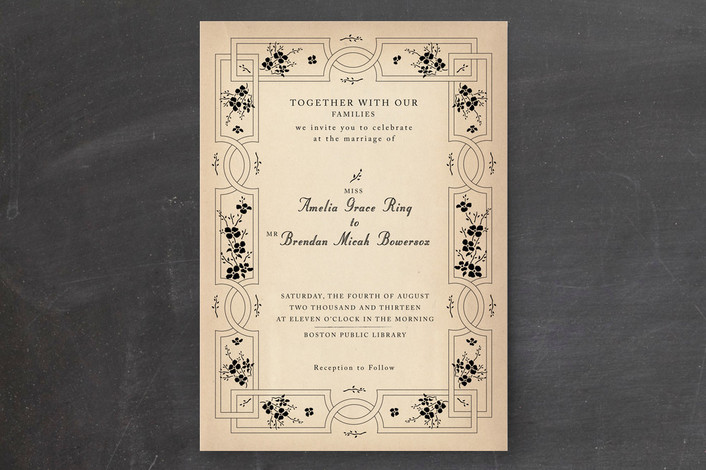 """""""Bookworm Society"""" - Vintage Print-it-yourself Wedding Invitations in Parchment by Design Lotus."""