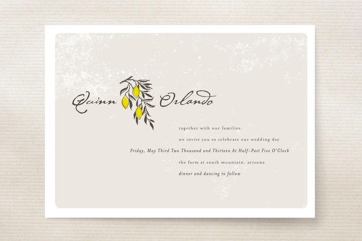"""The Grove"" - Floral & Botanical, Winery Print-it-yourself Wedding Invitations in Lemon by Design Lotus."
