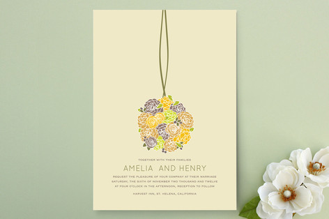 """Kissing Ball"" - Floral & Botanical Print-it-yourself Wedding Invitations in Neutral by Phoebe Wong-Oliveros."