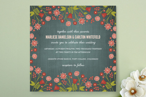 """""""Serendipity Floral"""" - Rustic, Floral & Botanical Print-it-yourself Wedding Invitations in Midnight Teal by Wendy Van Ryn."""