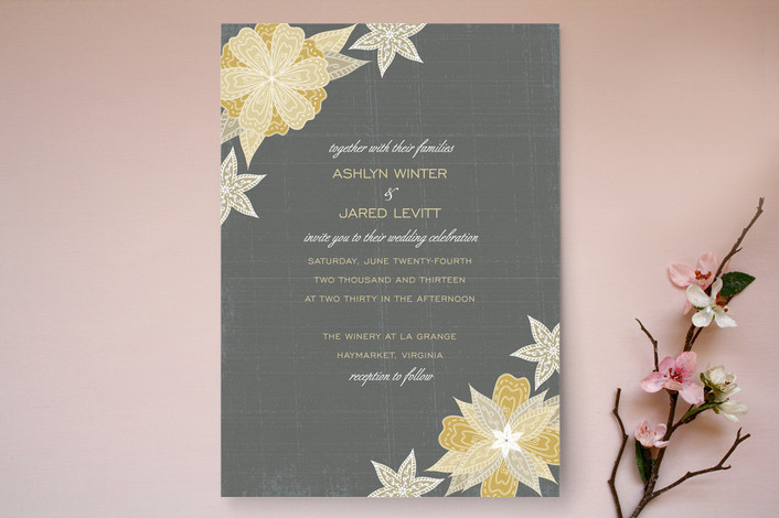 """Charcoal and Floral"" - Floral & Botanical Print-it-yourself Wedding Invitations in Ochre by Wendy Van Ryn."