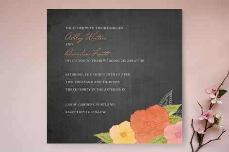 """""""A Punch of Poppies"""" - Floral & Botanical Print-it-yourself Wedding Invitations in Apricot by Wendy Van Ryn."""