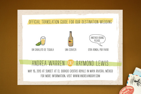 """""""Translation Destination"""" - Hand Drawn, Whimsical & Funny Print-it-yourself Wedding Invitations in Lime by Erin Pescetto."""