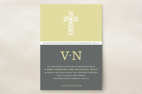 """""""Two Become One"""" - Monogrammed Print-it-yourself Wedding Invitations in Custard by trbdesign."""