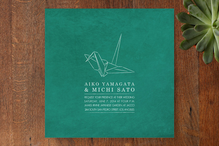 """Paper Crane"" - Modern Print-it-yourself Wedding Invitations in Emerald by Up Up Creative."
