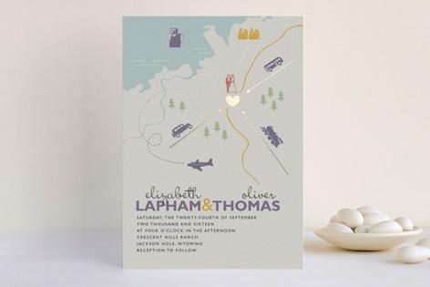 """Destination"" - Print-it-yourself Wedding Invitations in Lilac Haze by leslie hamer."