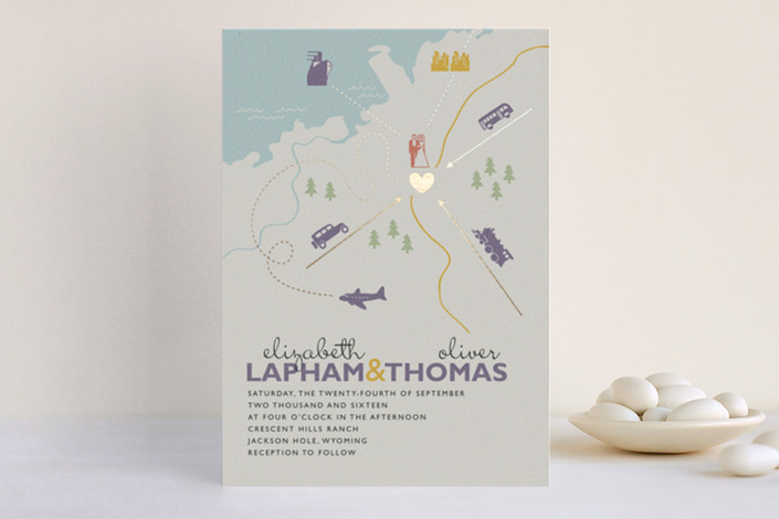 """Destination"" - Print-it-yourself Wedding Invitations in Lilac Haze by leslie hamer."