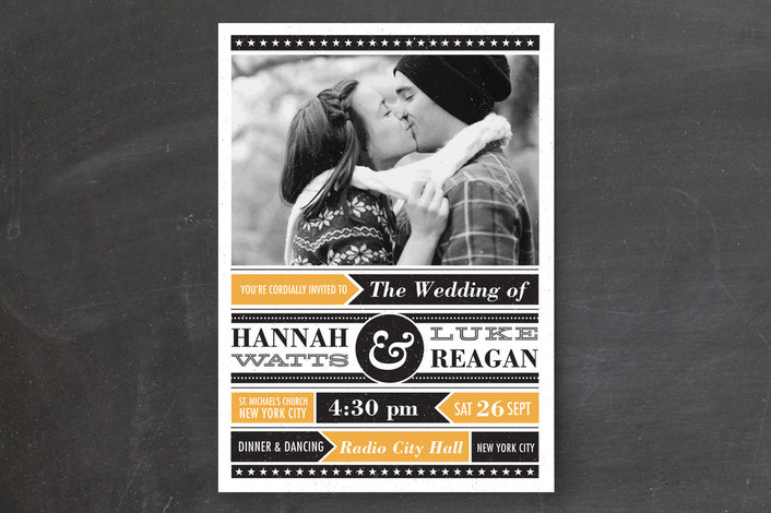 """Poster Gig"" - Modern, Bold typographic Print-it-yourself Wedding Invitations in Tangerine by Coco and Ellie Design."
