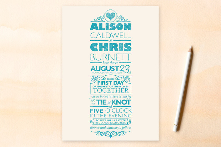 """Classically Modern"" - Vintage, Bold typographic Print-it-yourself Wedding Invitations in Aqua by GeekInk Design."