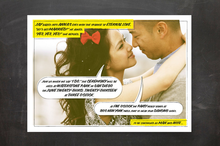 """A Comic Book Love Story"" - Modern, Whimsical & Funny Print-it-yourself Wedding Invitations in Yellow by 2birdstone."