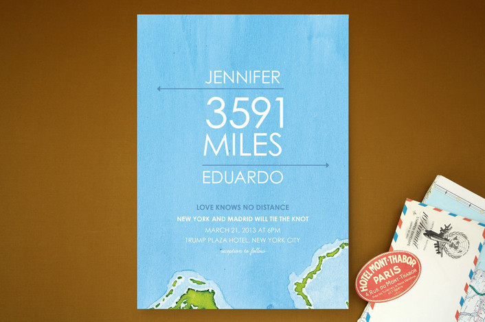 """Miles of Love"" - Beach, Destination Print-it-yourself Wedding Invitations in Blue Ocean by Ana Gonzalez."