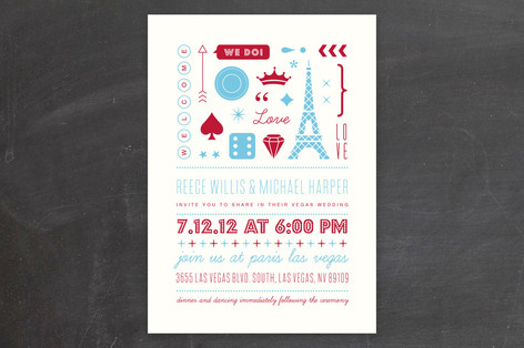 """""""Bet on Love"""" - Bold typographic, Whimsical & Funny Print-it-yourself Wedding Invitations in Red by rose lindo."""