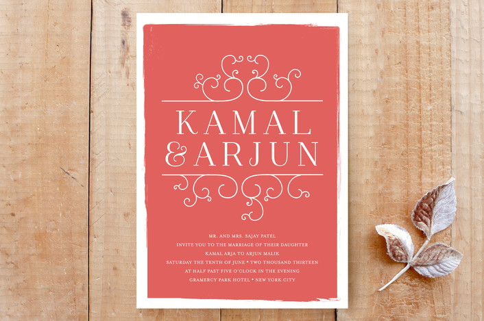 """""""Darjeeling"""" - Bold typographic Print-it-yourself Wedding Invitations in Coral by annie clark."""