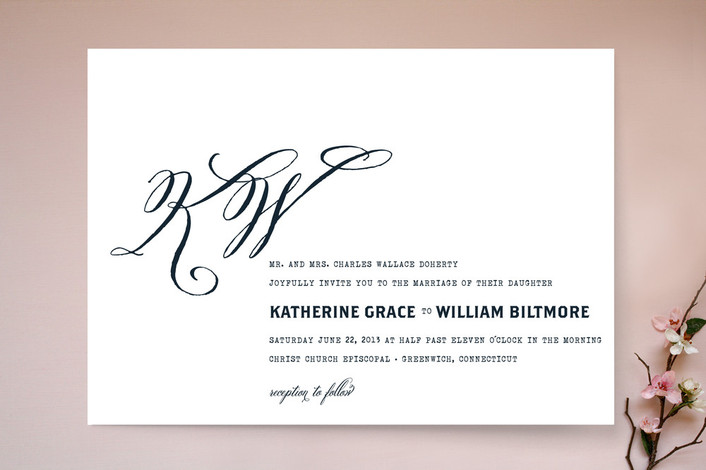 """""""Hyde Park"""" - Monogrammed, Classical Print-it-yourself Wedding Invitations in Midnight Navy by annie clark."""