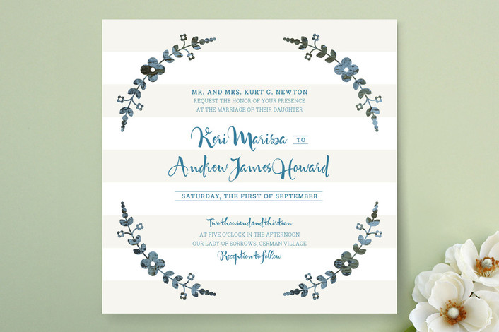 """""""Flower Frame"""" - Floral & Botanical Print-it-yourself Wedding Invitations in Navy by SD Design."""