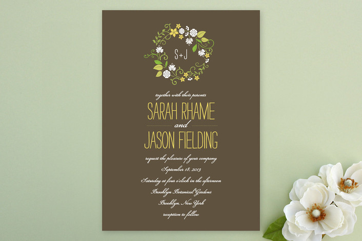 """A Bloomin' Wreath"" - Rustic, Floral & Botanical Print-it-yourself Wedding Invitations in Chocolate by That Girl Press."