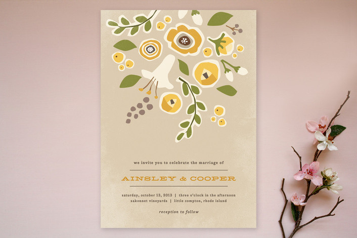 """Summer's End"" - Floral & Botanical, Rustic Print-it-yourself Wedding Invitations in Pear by Jennifer Wick."