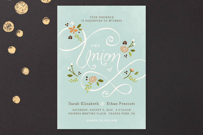"""A More Perfect Union"" - Hand Drawn, Rustic Print-it-yourself Wedding Invitations in Frost by Jennifer Wick."