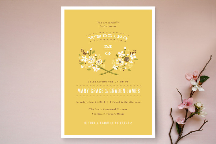 """Harvest Moon"" - Rustic, Hand Drawn Print-it-yourself Wedding Invitations in Gold by Jennifer Wick."