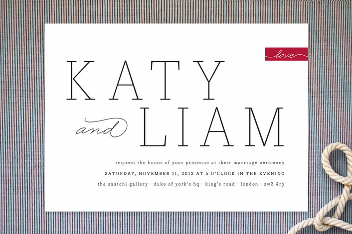 """""""Modern Princess"""" - Simple Print-it-yourself Wedding Invitations in Cherry by Design Lotus."""