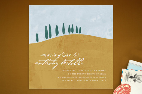 """""""Tuscan Hill"""" - Destination, Winery Print-it-yourself Wedding Invitations in Sky Blue by Erin Pescetto."""