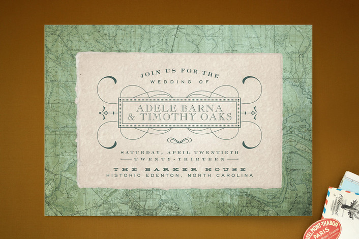 """Tea and Topo"" - Vintage Print-it-yourself Wedding Invitations in Vintage Green by Sydney Newsom."