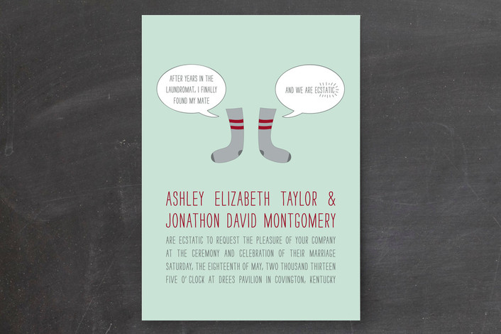 """""""Sole Mates"""" - Whimsical & Funny Print-it-yourself Wedding Invitations in Aqua by Kim Dietrich Elam."""