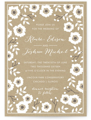 Kraft Florals Print-It-Yourself Wedding Invitations