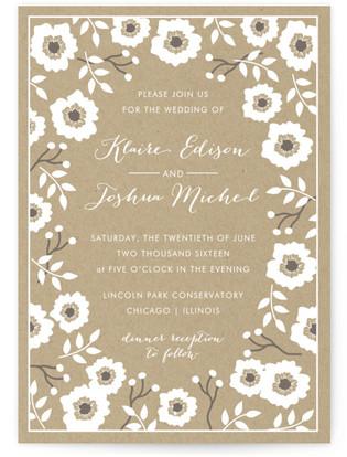 Kraft Florals Print-It-Yourself Wedding Invitations