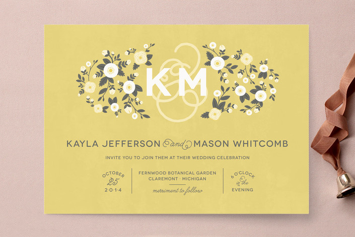 """""""Cheerful Bloom"""" - Rustic, Floral & Botanical Print-it-yourself Wedding Invitations in Sunflower by Sarah Brown."""