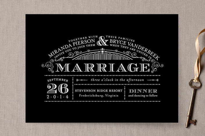 """""""Eloquent"""" - Classical, Vintage Print-it-yourself Wedding Invitations in Black by Sarah Brown."""