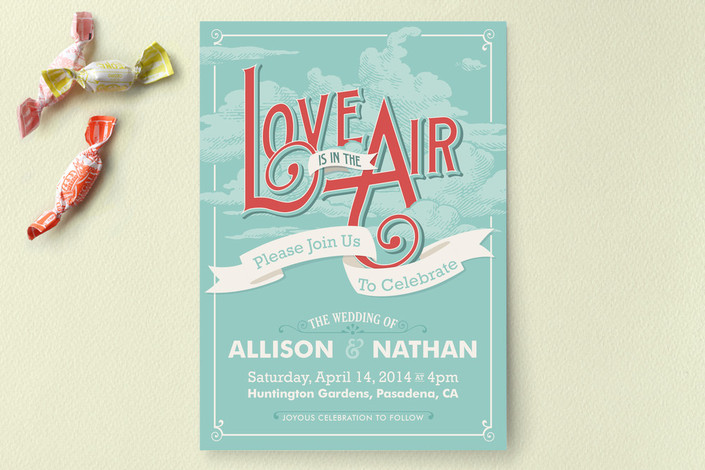 """""""Love is in the Air"""" - Whimsical & Funny, Vintage Print-it-yourself Wedding Invitations in Aqua by GeekInk Design."""