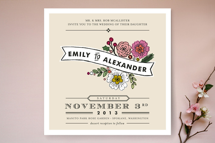 """Wildflower Label"" - Floral & Botanical Print-it-yourself Wedding Invitations in Latte by Alethea and Ruth."