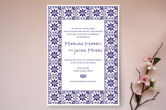 Block Printed Tile Print It Yourself Wedding Invitations By