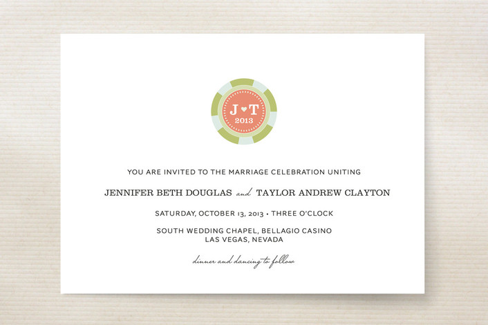 """""""Vegas or Bust"""" - Monogrammed, Destination Print-it-yourself Wedding Invitations in Coral by Sandra Picco Design."""