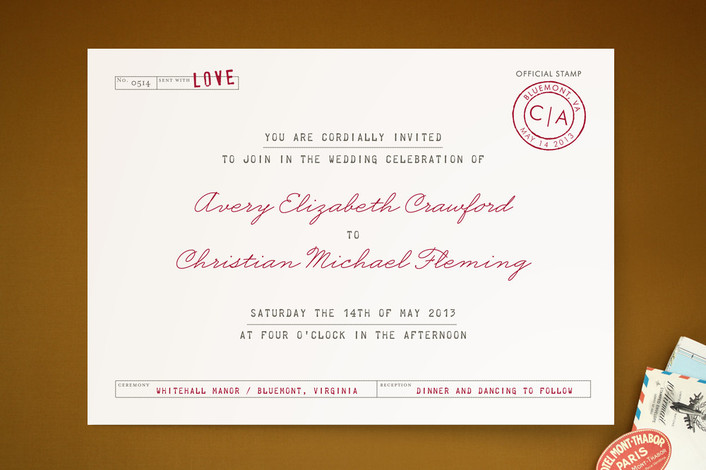 """Telegram"" - Monogrammed, Vintage Print-it-yourself Wedding Invitations in Crimson by The Social Type."