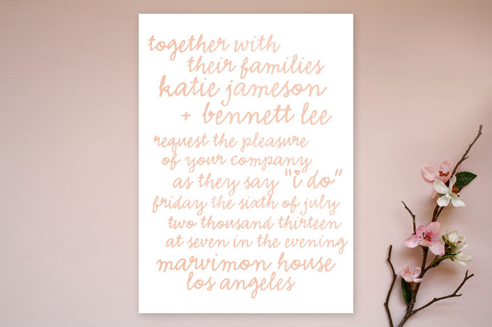 """Charm School"" - Whimsical & Funny, Bold typographic Print-it-yourself Wedding Invitations in Apricot by The Social Type."