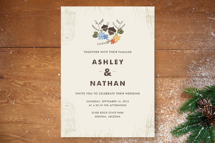 """Woodsy Pair"" - Rustic Print-it-yourself Wedding Invitations in Maple by Katie Wahn."