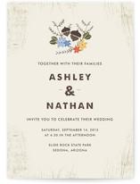 This is a beige diy wedding invitation by Katie Wahn called Woodsy Pair with standard printing on digital paper in digital.