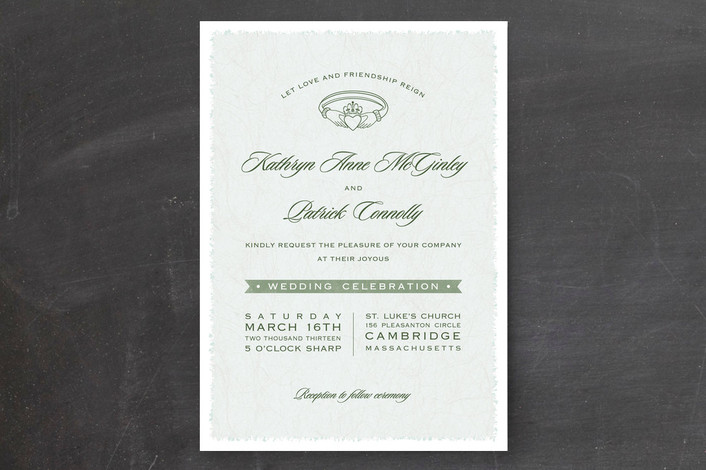 """""""Classic Claddagh"""" - Classical Print-it-yourself Wedding Invitations in Sage by Hooray Creative."""