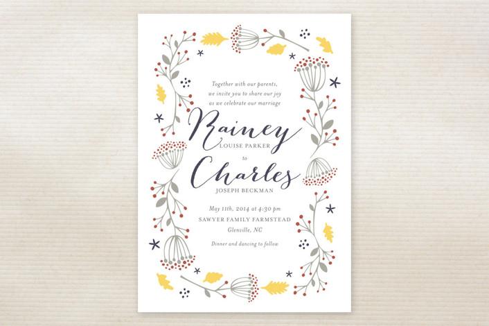 """Merry Garden"" - Hand Drawn, Floral & Botanical Print-it-yourself Wedding Invitations in Sunburst by Olivia Raufman."