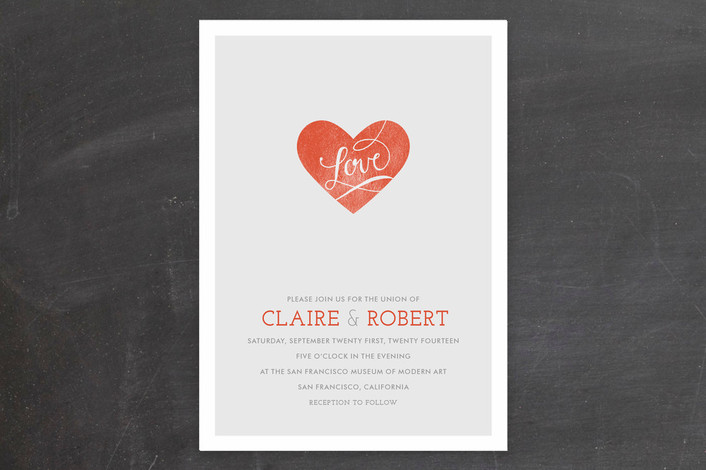 """""""Heart on Our Sleeves"""" - Modern, Simple Print-it-yourself Wedding Invitations in Coral Rose by CRAFTE design."""