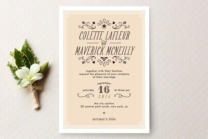 """Chamade"" - Vintage Print-it-yourself Wedding Invitations in Ivory by Bonjour Paper."