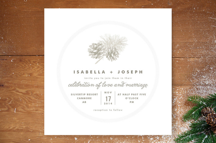 """Pine Cones"" - Rustic Print-it-yourself Wedding Invitations in Snow by Jana Volfova."