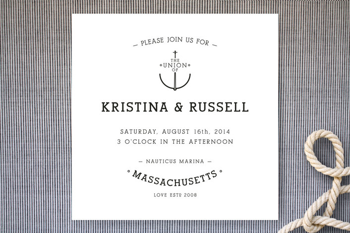 """""""Established Union"""" - Preppy, Beach Print-it-yourself Wedding Invitations in Classic by WHALEN."""