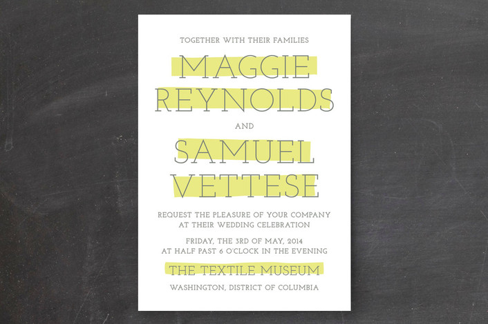 """""""Big Highlight"""" - Bold typographic, Modern Print-it-yourself Wedding Invitations in Chartreuse by The Social Type."""