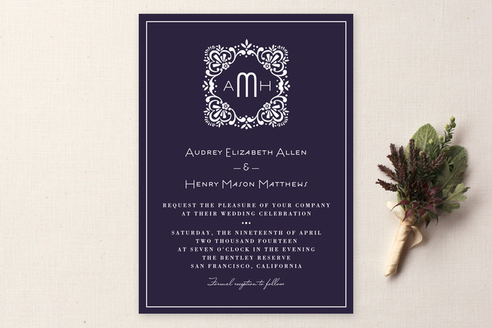 """""""Eventide"""" - Vintage Print-it-yourself Wedding Invitations in Indigo by Griffinbell Paper Co.."""