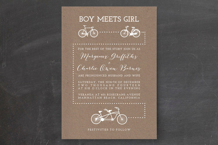 """Bicycle Love"" - Whimsical & Funny, Rustic Print-it-yourself Wedding Invitations in White by Five Sparrows."