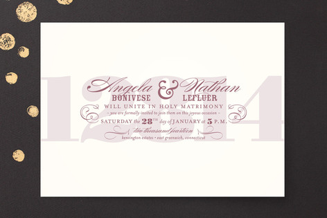 """""""Bold Numerals"""" - Bold typographic, Modern Print-it-yourself Wedding Invitations in Wine by Mandy Rider."""