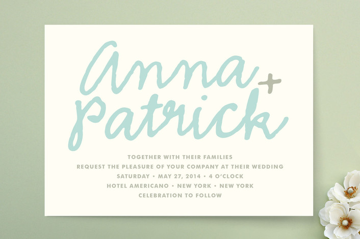 """""""You+Me"""" - Simple, Bold typographic Print-it-yourself Wedding Invitations in Sky by The Social Type."""